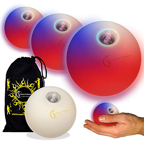 Flames N Games Pro LED Glow Juggling Balls 3X (Fast Strobe RGB Effect) Ultra Bright Battery Powered Glow LED Juggling Ball Set with Travel Bag. (Set of 3)