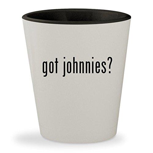 got johnnies? - White Outer & Black Inner Ceramic 1.5oz Shot Glass (Game Ds Johnny Test)