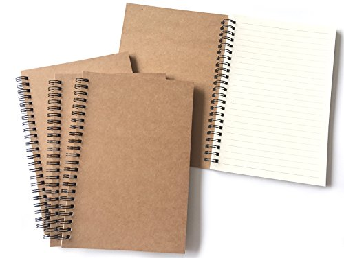 VEEPPO Brown Kraft Paper Cover Small Spiral Lined Notebooks and Journals 4/8 Bulk Pack 100g Thick Cream White Paper 12x18cm (Lined White Page-Pack of 4)