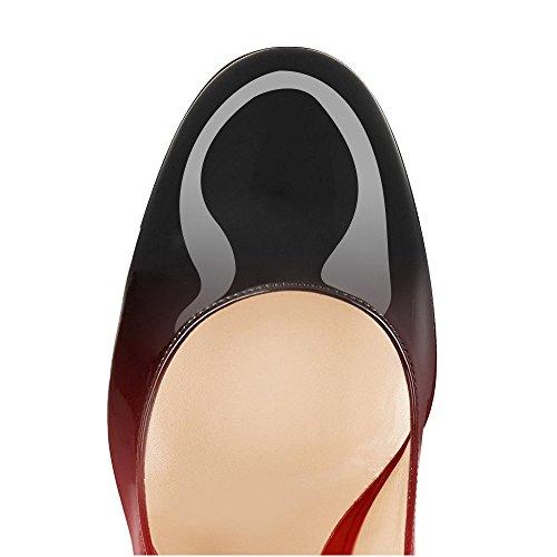 À Hauts Bloc Talon rouge Escarpins Femme Cm Bout 10 Noir Rond Talons Chaussures Ubeauty Femmes BzIwqAnqx