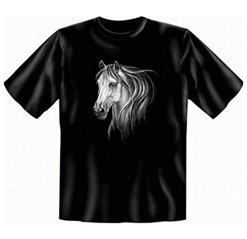 weißes Pferde Motiv Tshirt Horse Fb schwarz