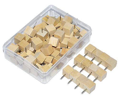 (Wood Push Pins, JoyFamily Square Wooden Thumb Tacks Used for Cork Boards, Maps or Bulletin Boards, Natural Color (60PCS) )