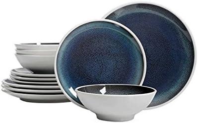 Laurie Gates 12-piece Melamine Dinnerware Set|Blue  sc 1 st  Amazon.com & Amazon.com: Dinnerware Sets: Home \u0026 Kitchen