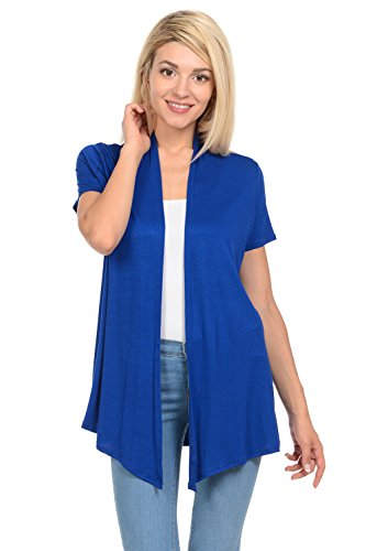 Short Sleeve Knit Cardigan (Pastel by Vivienne Women's Short Sleeve Open Front Vest XXX-Large Royal Blue)