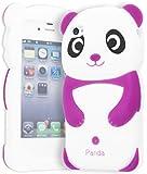 iPhone 4 Phone Case, Bastex 3D Silicone Purple & White Panda Bear Case for Apple iPhone 4, 4s