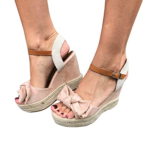 Womens Espadrille Wedge Platform Peep Toe Sandal Lace Up Summer Ankle Wrap Shoes Slingback Dress