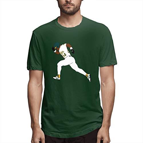 Henderson Autographs - Novelty Tshirts Green Oakland Henderson 24 Short-Sleeve T-Shirt Crewneck Tee for Men