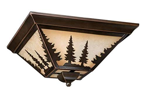 Burnished Bronze Yosemite 3 Light Flush Mount Indoor Ceiling Fixture with Tree Portrait Glass Shade - 14 Inches Wide