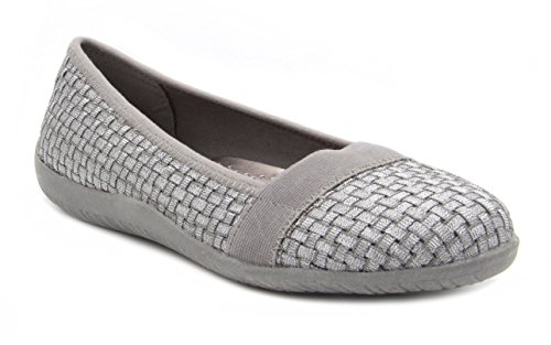 London Fog Oxfords - London Fog Womens ALDGATE2 Woven Stretch Casual Shoe Silver 6