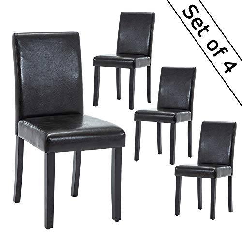 (LSSBOUGHT Set of 4 Urban Style Leatherette Dining Chairs Black Dining Room Chair with Solid Wood Legs,Set of 4(Black))