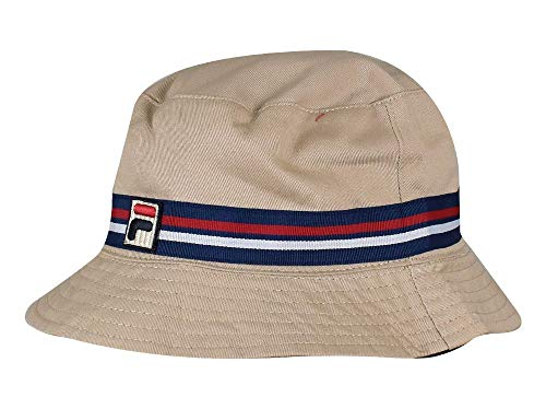 (Fila Men's Heritage Basic Bucket Hat, Khaki, L/XL)