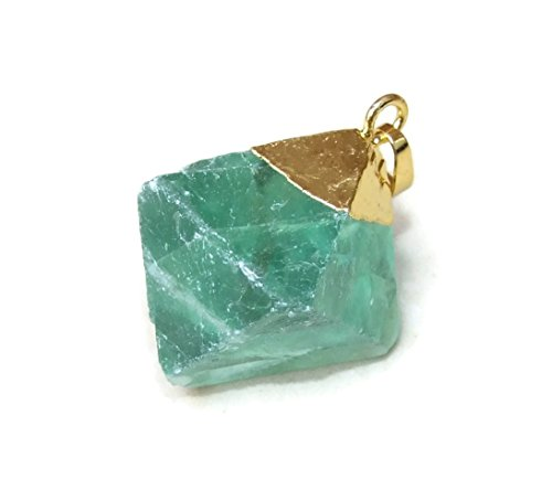 Green Fluorite Diamond Shaped Pendant - Fluorite Pendant - Gold Plated Cap and Bail - 25mm - 35mm (Plated Bead Shaped Caps Gold)