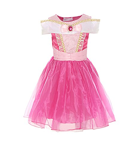 ReliBeauty Girls Drop Shoulder Princess Aurora Costume Dress up (6-6X, Knee-Length:hot Pink)