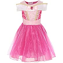 ReliBeauty Girls Drop Shoulder Princess Aurora Costume Dress up