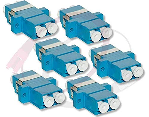 - 6 Pk Duplex LC Couplers   Female to Female Fiber Optic Coupler/Adapter   Singlemode/Multimode, LC(F) to LC(F) Coupler   f/f lc/lc Female/Female Adapter sm mm 6-Pack