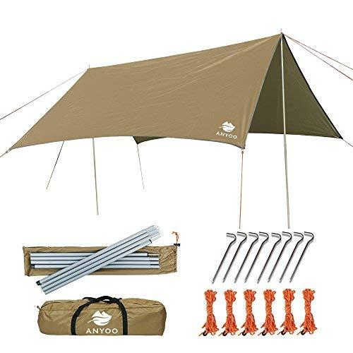 Anyoo Ripstop Rain Tarp Parasol Compact Léger Abri Étanche Pour Camping Rando... Cool En éTé Et Chaud En Hiver