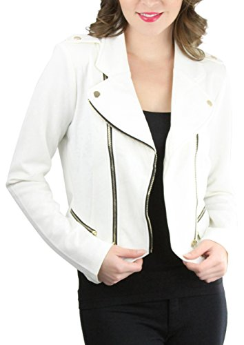 Double Zip Moto Jacket - Off-White