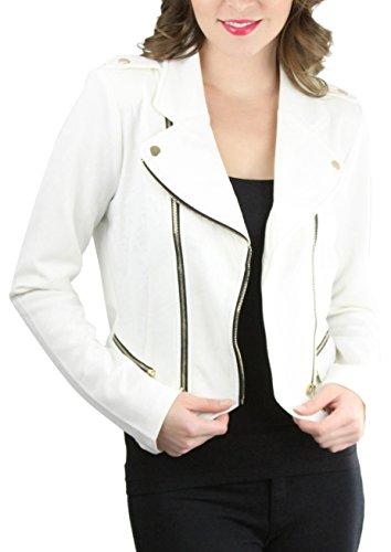 Double Zip Moto Jacket - Off-White