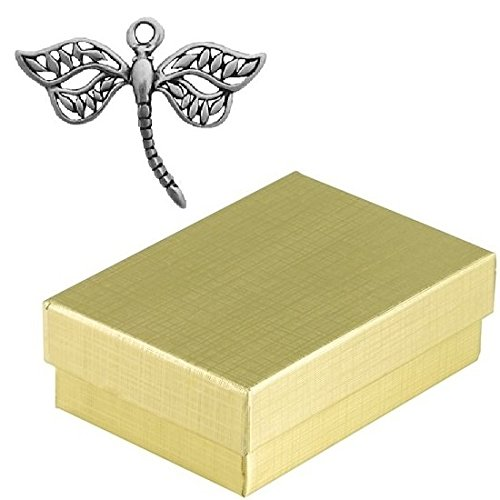 Sterling Silver Dragonfly Charm Animal Jewelry in Gift Box - Silver Foil Butterfly Bead