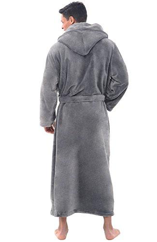 Alexander Del Rossa Mens Fleece Robe, Long Hooded Bathrobe, Large XL Steel Grey (A0125STLXL) by Alexander Del Rossa (Image #2)