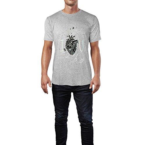 SINUS ART® I Love U mit mechanischem Herz Herren T-Shirts in hellgrau Fun Shirt mit tollen Aufdruck