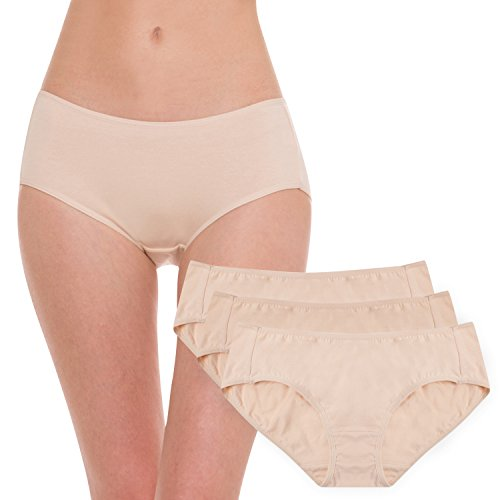 Hesta Women's Organic Cotton Basic Panties Underwear 3 Pack (Large, 3Naturals)