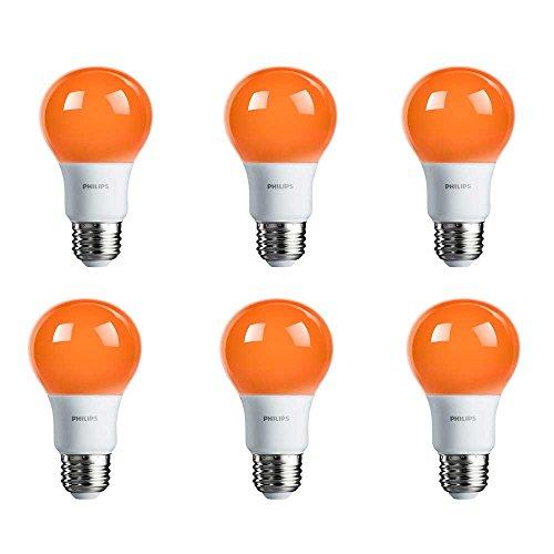 Philips LED A19 Color Light Bulb: 8-Watt (60-Watt Equivalent), E26 Base, Non-Dimmable, Orange, 6-Pack