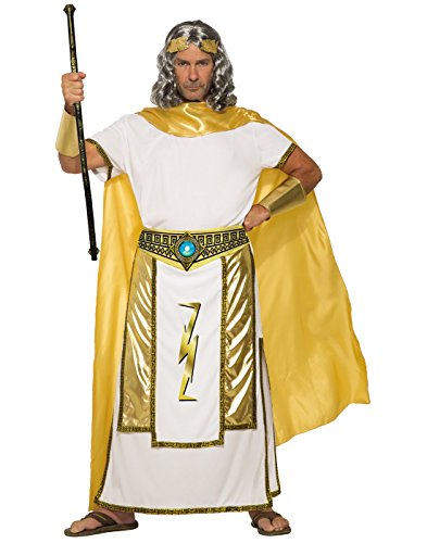 Forum Men's Mythical Zeus Costume Tunic with Cape, Gold/White, Std (Zeus Greek God Costume)