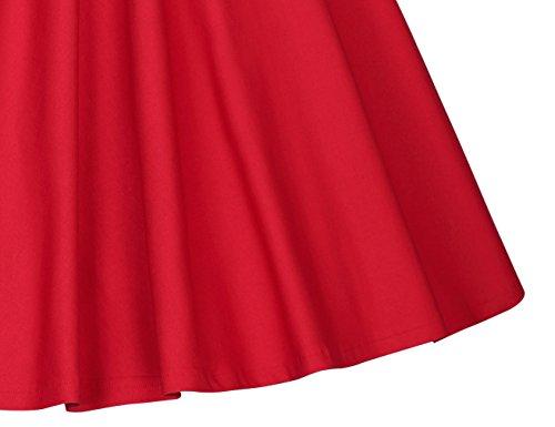 MUXXN Falda de Oscilación de Cóctel Manga Casquillo Cuello de Cariño Retro 1950s para Mujer Rojo
