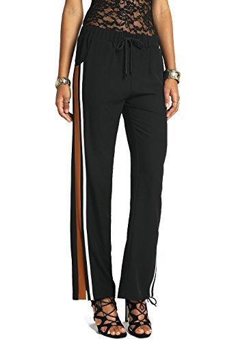 MeshMe Womens Bolt - Rust Orange Long Length Side Slit Striped Drawstring Summer Athletic Active Activewear Fitness Sporty Gym Casual Wear Palazzo Style Comfortable Stretchy Pants with Tie and Pockets