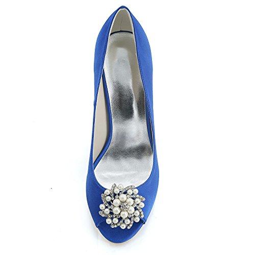 da Fashion Tacco Sposa Moda Dress Toe da Sexy 9cm Sandali Sera Donna Blue Strass Elobaby Peep Scarpe HxwqTB8q5