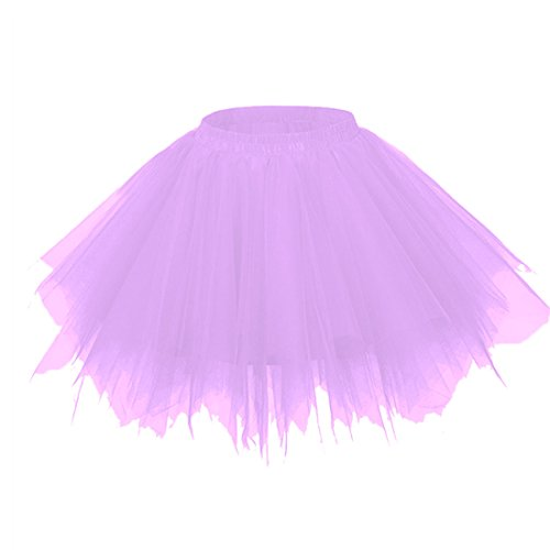 Teafor Womens Mini Tutu Skirt with Multi-Layer Frilly Petticoat (Light Purple)