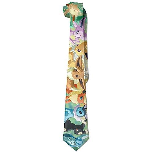 Mens Pokemon Go Eevee Evolution Leisure Wide Tie Necktie Costume Accessory Fashion Design (Cute Costumes For Men)
