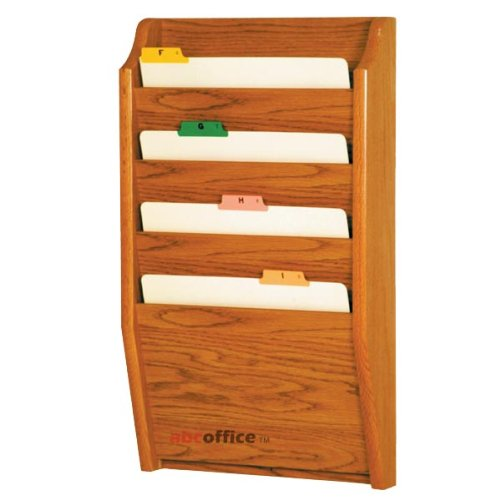 Wooden Mallet CH14-2 Medium Oak Four Pocket Wall Mounted File / Chart Holder by Wooden Mallet