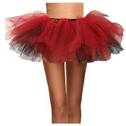 ASSN Women's Classic 80s Mini Puffy Tutu Halloween Run Bubble Ballet Skirt 6-Layered Black and Red Regual