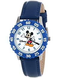 Kids' W000005 Mickey Mouse Stainless Steel Time Teacher Watch