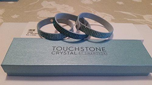 Touchstone Crystal by Swarovski Tri-Wrap Aqua Crystal Bracelet Set of 3 Bracelet (Touchstone Jewelry Crystal)