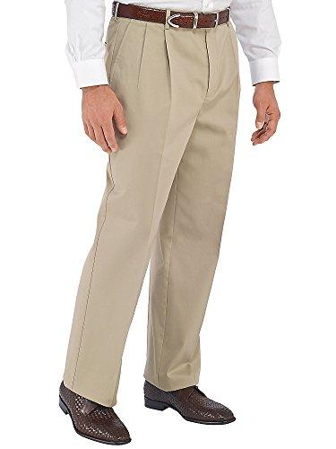 Paul Fredrick Men's Non-Iron Cotton Chino Pleated Pants Khaki 35