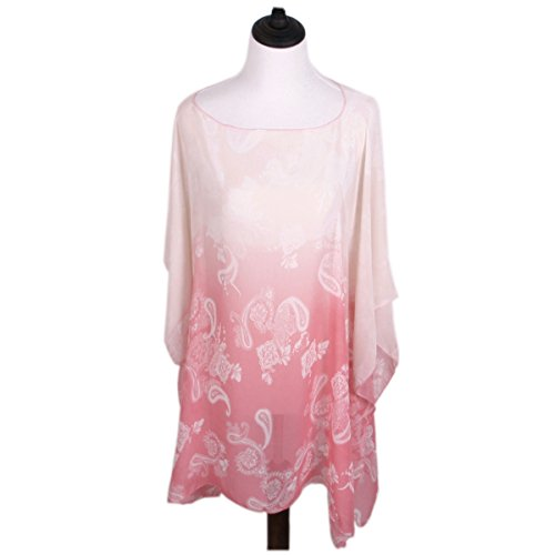 TrendsBlue Paisley Floral Ombre Chiffon Kimono Blouse Beach Cover up, Hot Pink