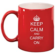 Keep Calm and Carry On Ceramic Coffee Tea Mug Cup Red