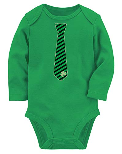 Irish Clover Striped Tie St Patrick's Day Cute Baby Long Sleeve Bodysuit