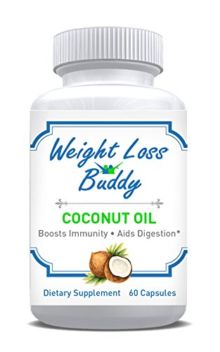 Weight Loss Buddy Organic Coconut Oil Capsules - Weight Loss, Healthy Skin, Hair Growth Supplement - 60 Capsules by Weight Loss Buddy