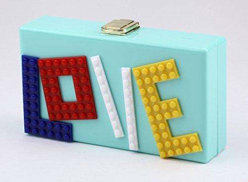 della Amore borsa Good cuore di sera del Blu acrilico del Night in sacchetto di rettangolare Donne frizione partito amore sorriso fronte HpqawHUCr