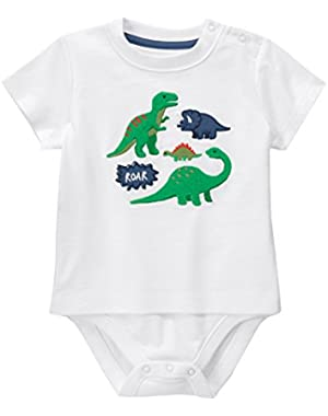 Baby Toddler Boys' White Dinos Graphic Bodysuit