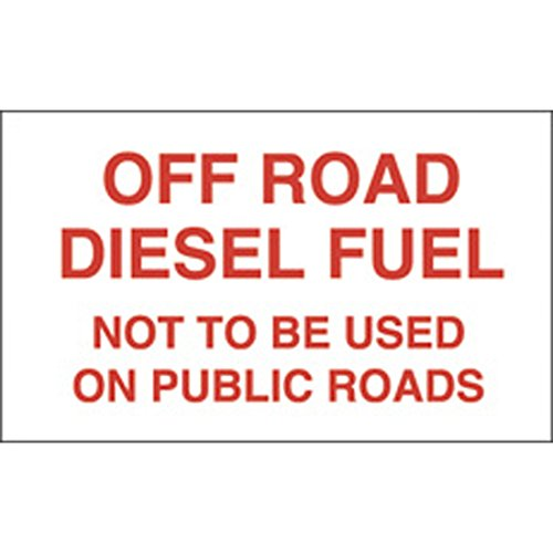 Decals (Pack of 5) - Off Road Diesel Fuel Not To Be Used On Public Roads - Red (6