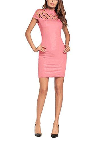 Evening Pink YMING Bodycon Dress Clubwear Party Women's Mini Sexy Dress 07Zqrzw0