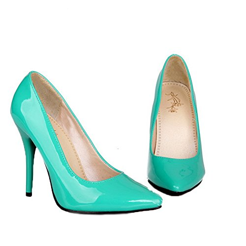 AllhqFashion Womens Patent Leather High-Heels Closed-Toe Pull-On Pumps-Shoes Green 9TXecbO
