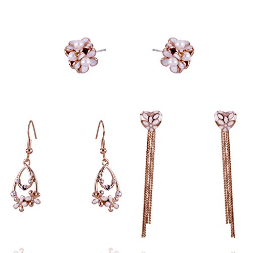 (14K Gold Plated Engraved Flower Cubic Zirconia Crystal Tassel Charms Stud and Dangle Drop Earrings Set for Women and Girls (white daisy flower set))