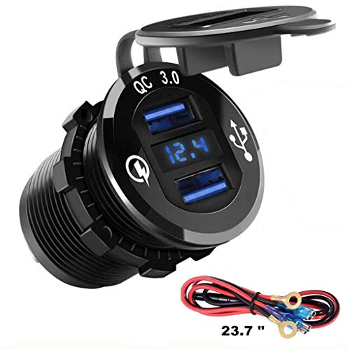 (QC 3.0 Metal Housing Dual USB Socket Charger W/V-Meter for Boats, Polaris RZR 900, RZR 1000, Ranger, Mobile Home, RV, Can Am Spyders, (QC 3.0 Metal Blue))