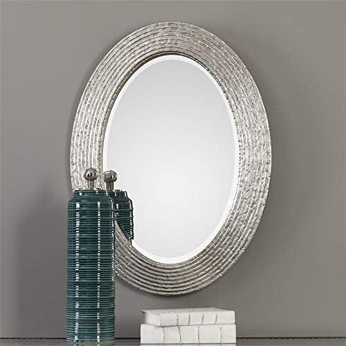 Uttermost 34 in. Oval Wall Mirror in Silver